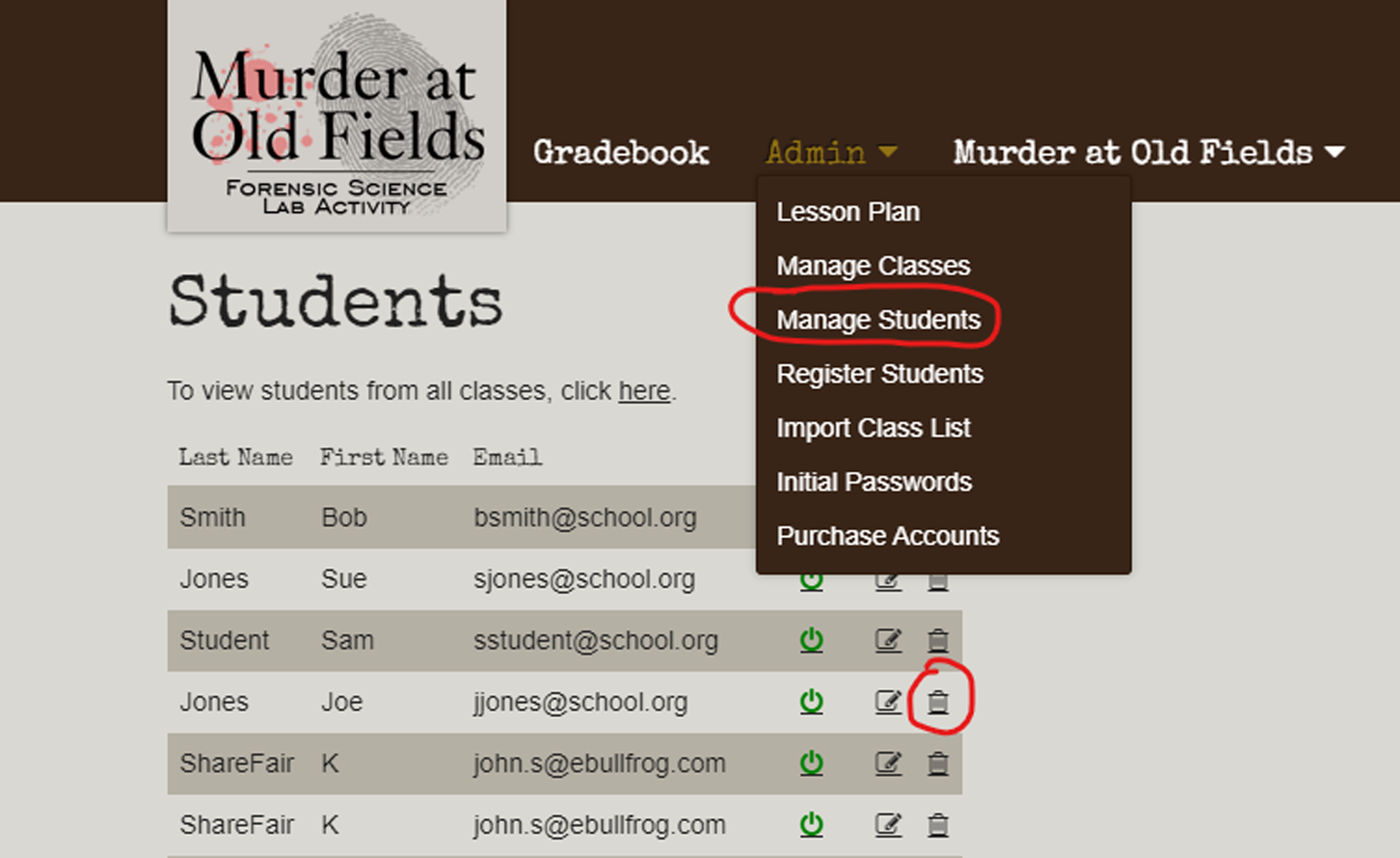 Reuse Murder at Old Fields Accounts