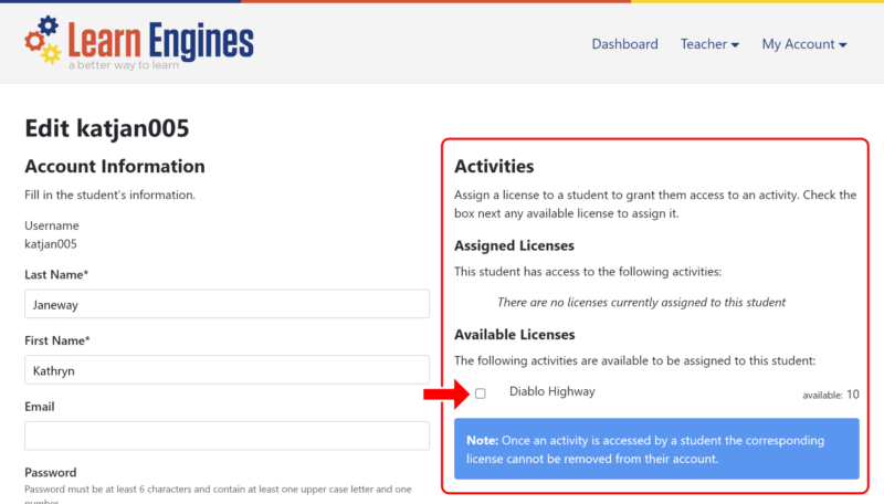 Where to assign licenses when editing a student account